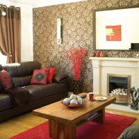 Red and taupe living room | housetohome.co.uk