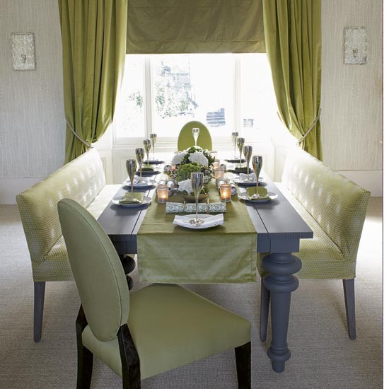 Green and silver dining room  Dining rooms  Dining room