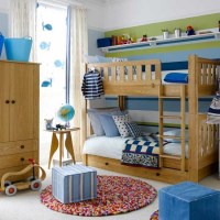 Colourful boys' bedroom with bunks
