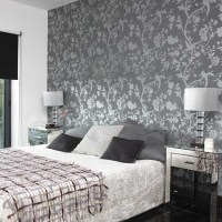 Bedroom with patterned wallpaper | Bedroom designs | Glass ...