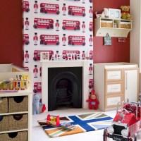 Boys' bedroom with soldier-print wallpaper | Boys bedroom ...