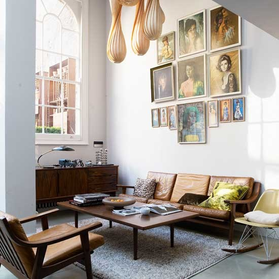 White Retro living room