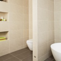 Beige bathroom with stud wall | Bathroom designs | Stud ...