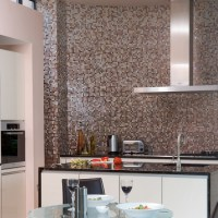 Monochrome mosaic splashback | Black and white kitchens ...