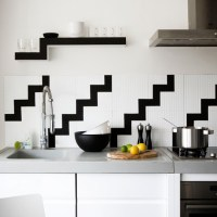 black and white kitchen tile 2017 - Grasscloth Wallpaper