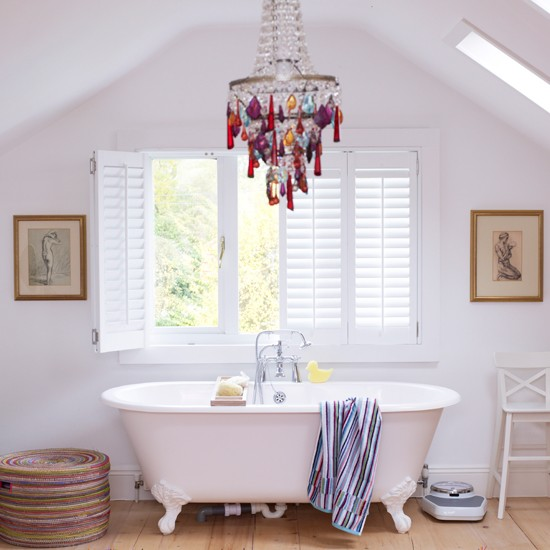 White bathroom with rainbow highlights
