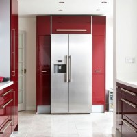 American-style fridge freezer | Modern burgundy kitchen ...