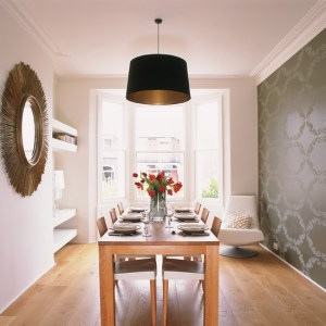 dining grey statement housetohome wall feature rooms area narrow homes designs kitchen table idea decorating walls modern amazing wallpapers mirror