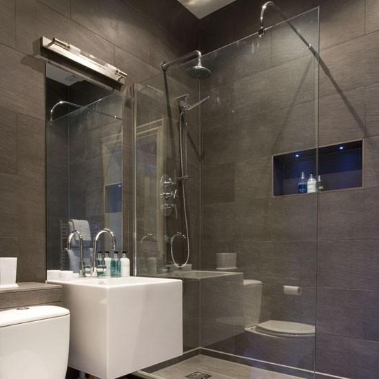Grey slate shower room
