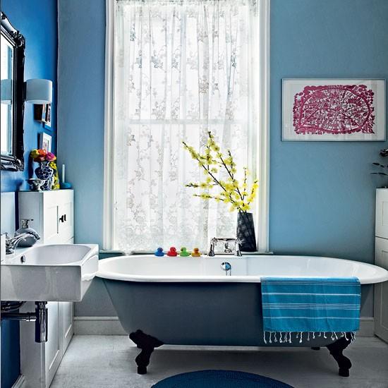Modern blue bathroom  Bathroom decorating ideas