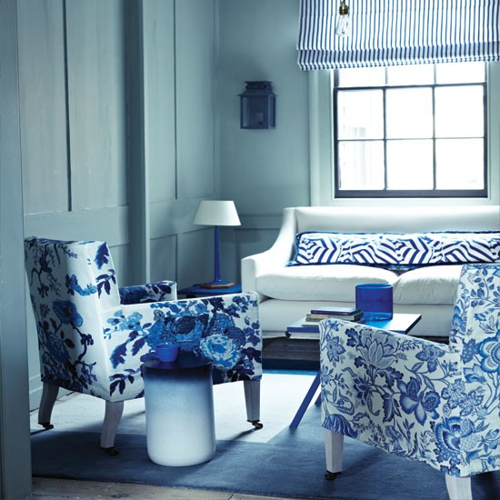 white and blue living room Floral blue and white living room | Living room decorating ideas | Living room | housetohome.co.uk