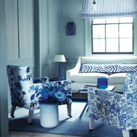 Floral blue and white living room