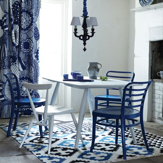 Modern Blue And White Dining Room Dining Room Decorating Ideas Dining Room