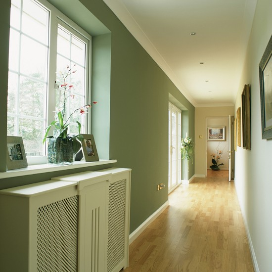 Light and airy long hallway  Hallway colour schemes  housetohomecouk