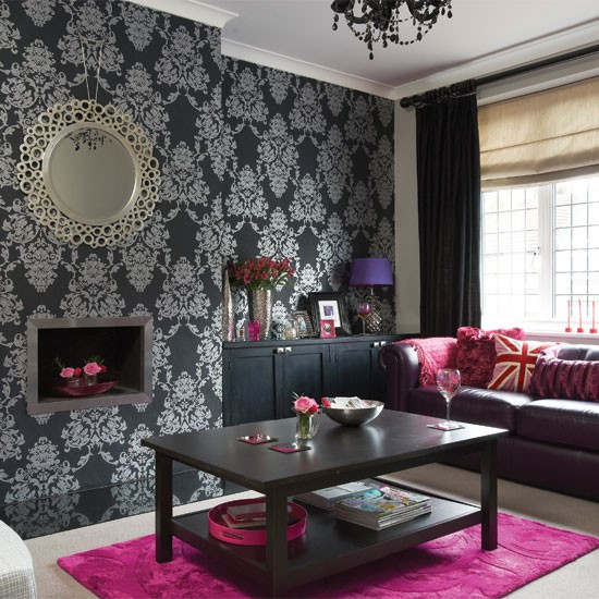 Bold black and silver living room