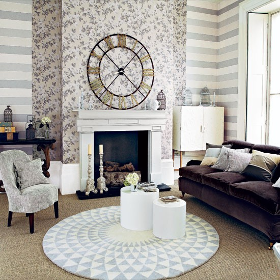 Neutral patterned living room  Living room  housetohome