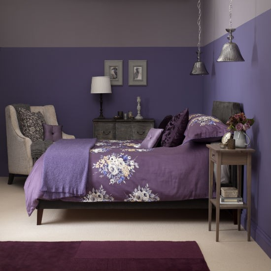 purple and gray bedroom color scheme Dusky plum bedroom with floral bed linen | Bedroom colour