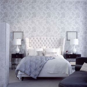 bedroom grey floral wallpapers bed designs wallpapered delicate greys decorating