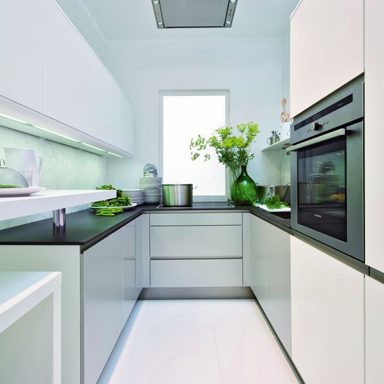 Small kitchen with reflective surfaces  Small kitchen