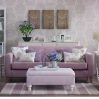 Lilac damask living room | Country decorating ideas ...