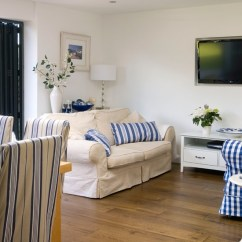 Blue Striped Sofa Uk 1 And 2 Chairs White Country Living Room | Country-style ...