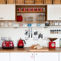 White kitchen with red accents | housetohome.co.uk