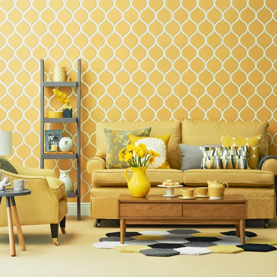Bright yellow living room