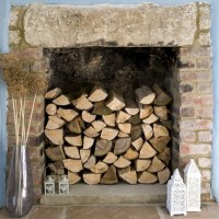 Wooden log fireplace | Fireplace decorating ideas ...