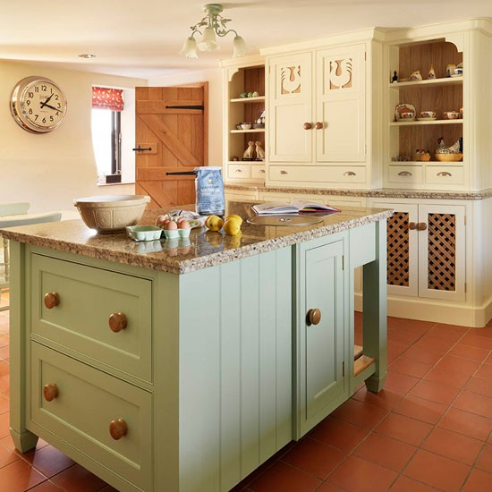 cream kitchen with islands Island unit | Soft green and cream traditional kitchen