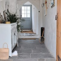 Hallway with flagstone floor