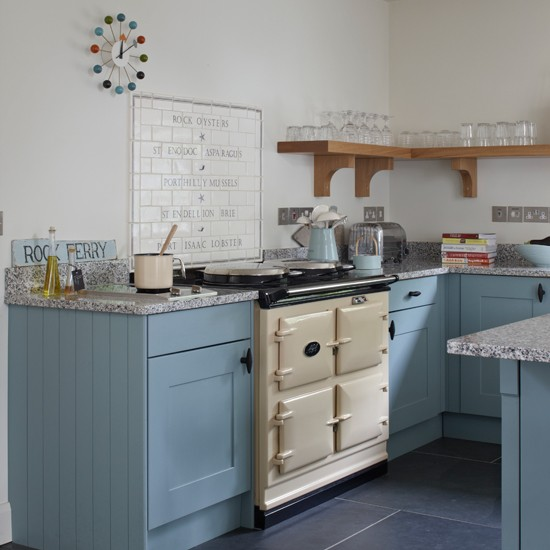 Blue and cream Aga kitchen  housetohomecouk