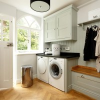 Pale blue and wood utility room | housetohome.co.uk