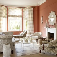 Terracotta living room with patterned fabric | Living room ...