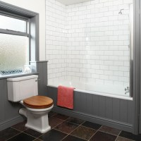 Grey and white tiled bathroom | Bathroom decorating ...