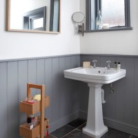 Grey and white panelled bathroom | Bathroom decorating ...