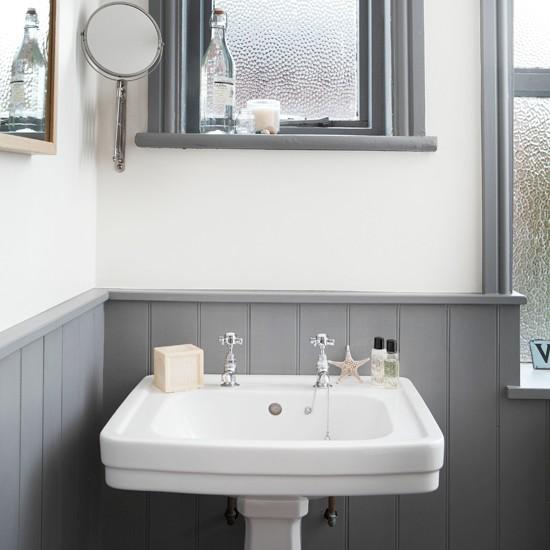 White and grey bathroom with traditional basin  Bathroom decorating  housetohomecouk