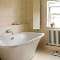 Neutral travertine tiled bathroom | Bathroom decorating ...