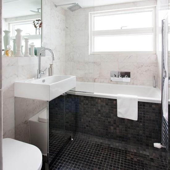 Monochrome marble tiled bathroom | Bathroom decorating ...