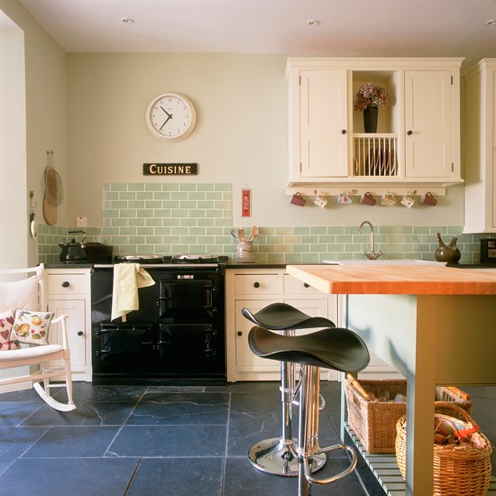 Modern country kitchen with green tiles  Green kitchen