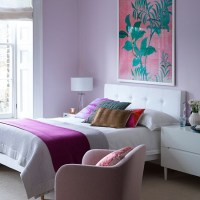 Pretty lilac bedroom with white furniture