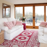 White living room with pink accents   Living room ...