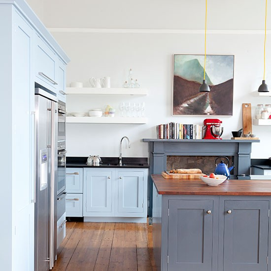 White kitchen with painted units in blue and grey