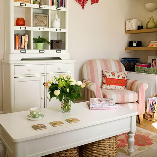 Living room with cream dresser  Living room decorating
