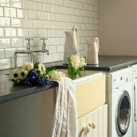 Utility room with metro tiles | Utility room decorating ...