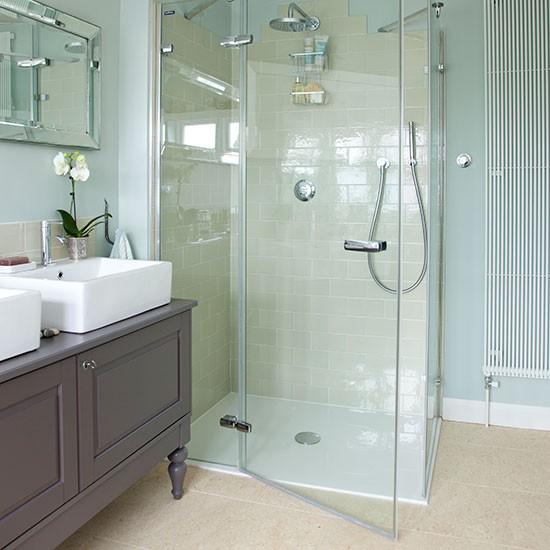 Mint green bathroom with walkin shower  Bathroom