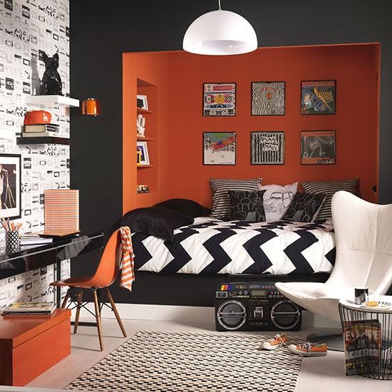Teenager's orange and black den
