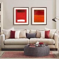 Mushroom grey and red living room