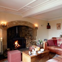 Country living room with inglenook fireplace | Living room ...