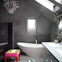 Modern bathroom with concrete finish walls | Decorating ...