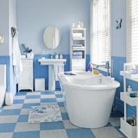 Blue and white hardworking bathroom | Family bathroom ...